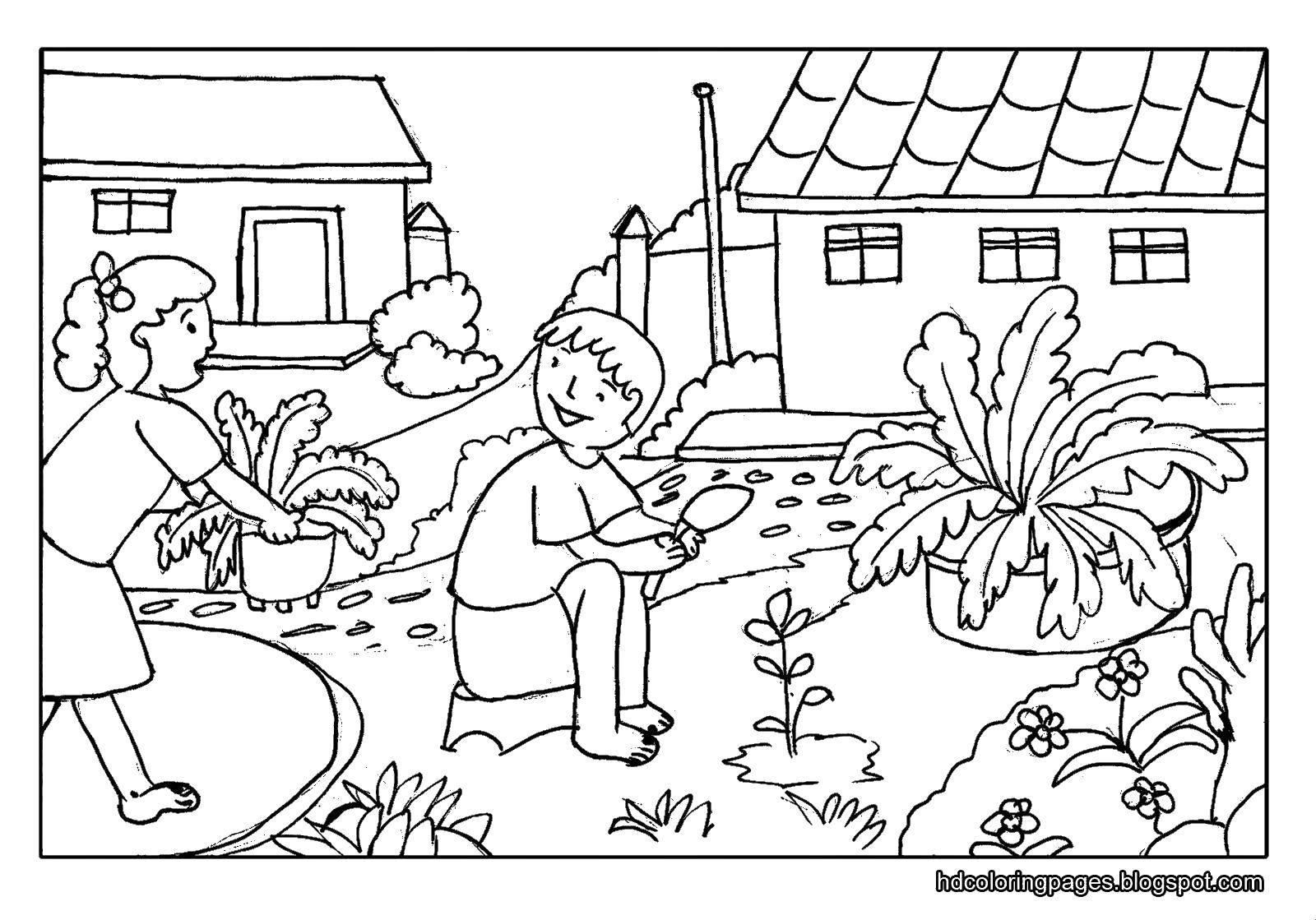 картинки раскраски работы весенние во дворе мама