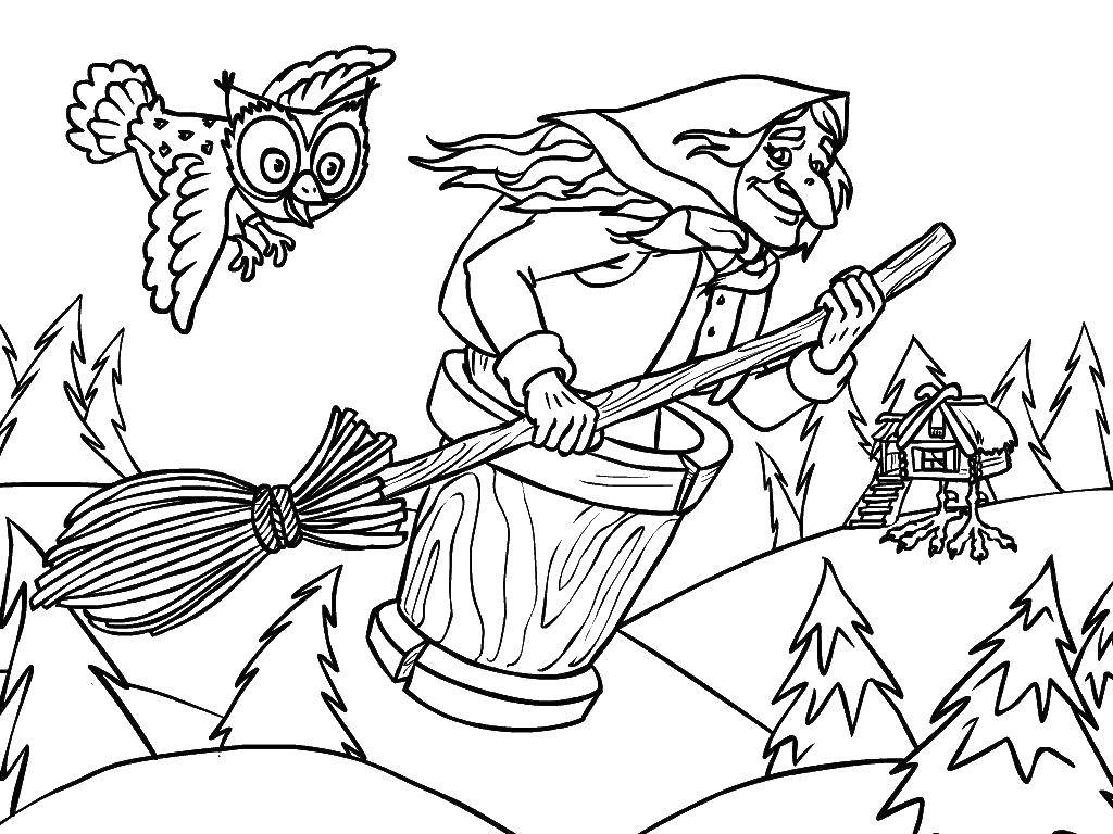 Coloring Baba Yaga flies in a mortar with owl Download ,Fairy tales,.  Print