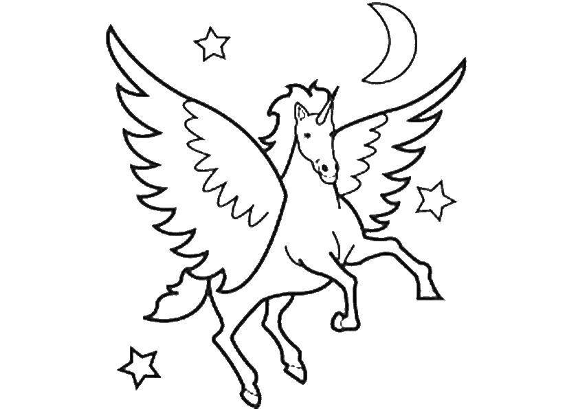 Раскраски единорог, Раскраска Единорог в ночном небе Животные.