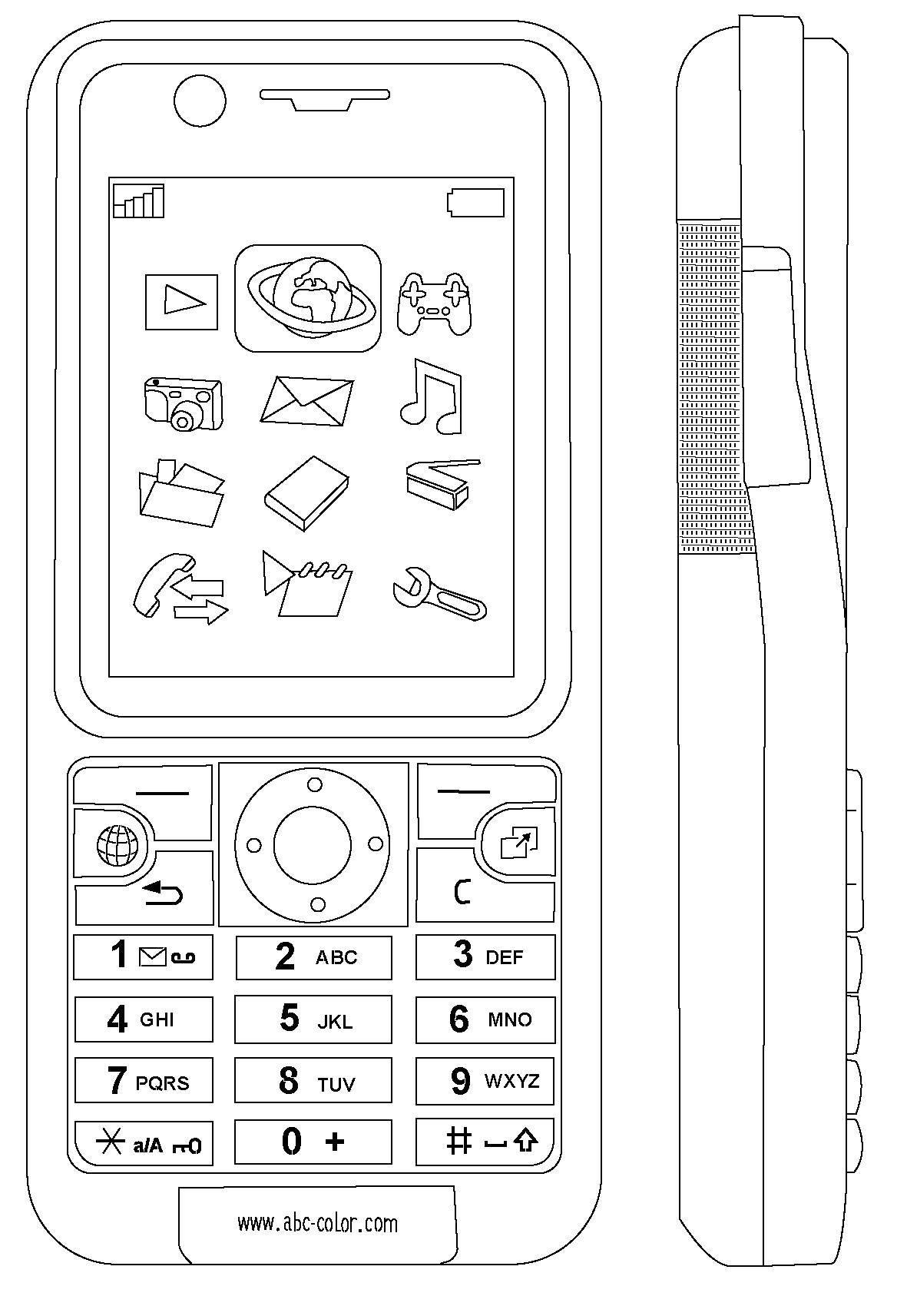 Coloring Menu on the cell phone Download the phone ,buttons, screen, menu,.  Print