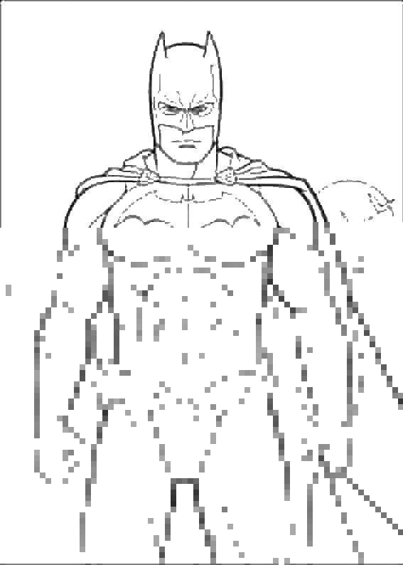Раскраска Бэтмен в маске Скачать ,бэтмен, маска, плащ,.  Распечатать