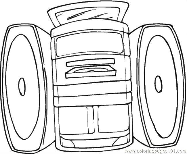Coloring Music player and speakers Download speakers, disc player.  Print ,Technique,