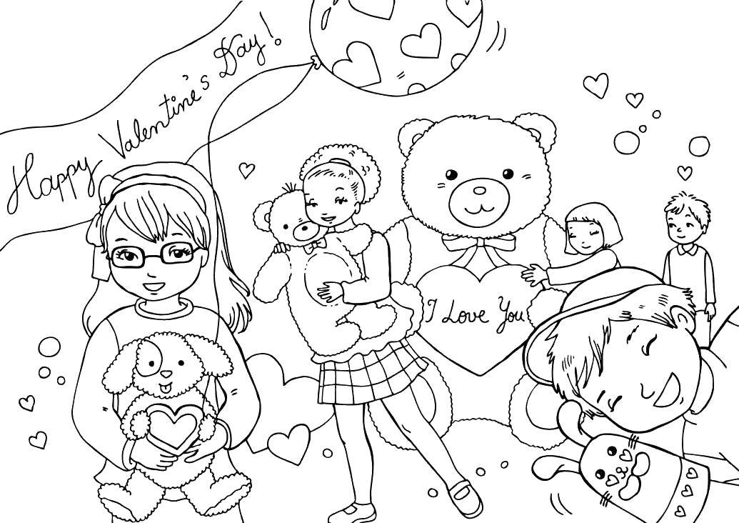 Coloring sheet St Valentins day Download .  Print