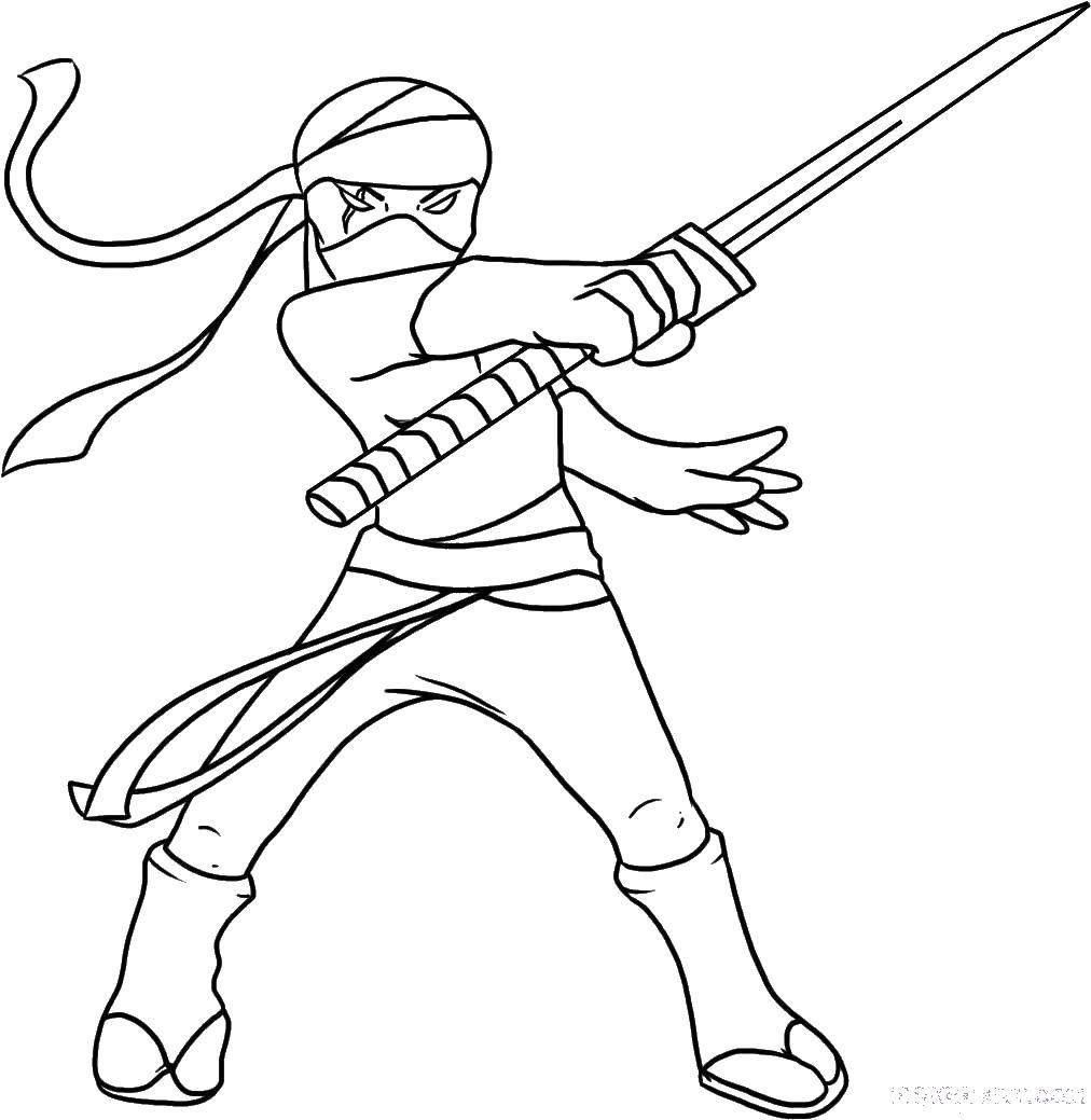 Coloring The samurai and the sword Download ,ninja mask, samurai.  Print