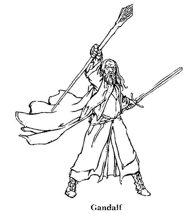 Раскраски эльф, Раскраска Леголас лучник эльф властелин колец.