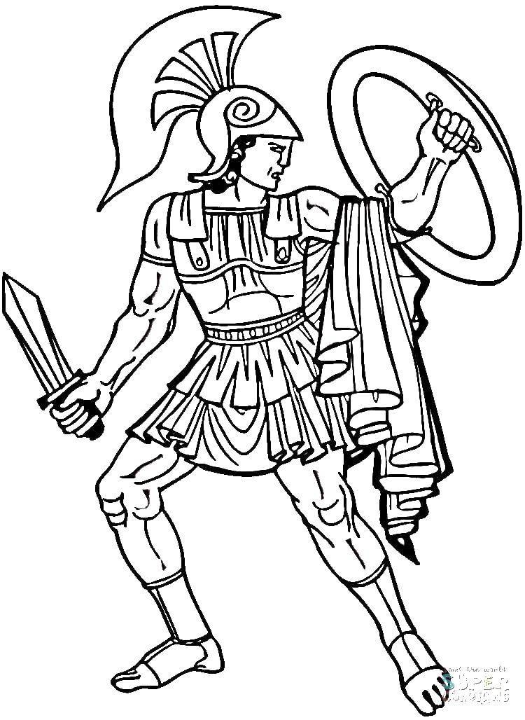 Coloring Gladiator with a shield Download ,Gladiator, shield, sword,.  Print