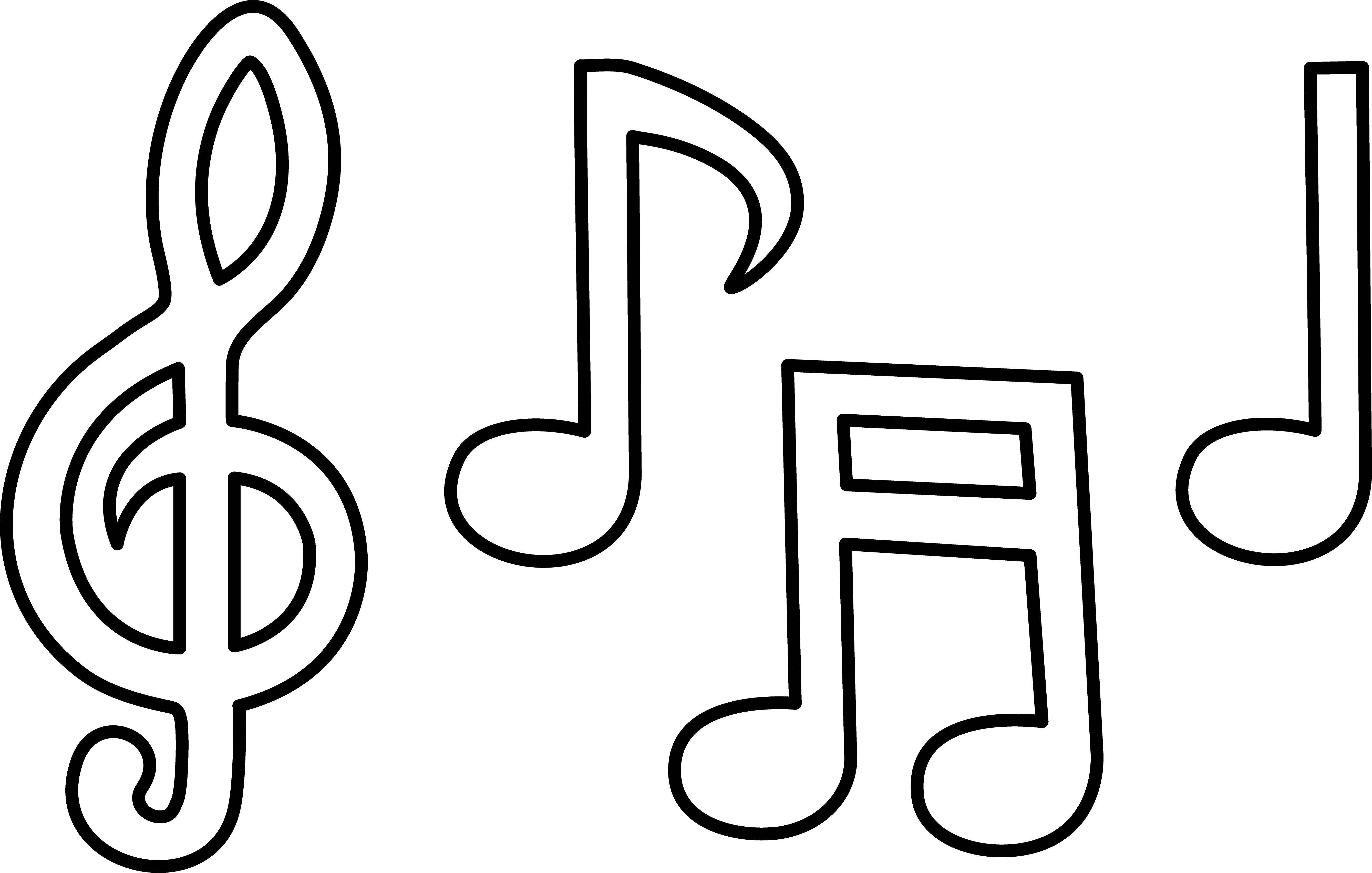 Coloring Templates music Download treble clef, notes.  Print ,Templates for cutting out,