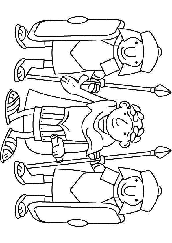 Coloring Caesar and the gladiators Download Caesar, shields, spears.  Print ,coloring,