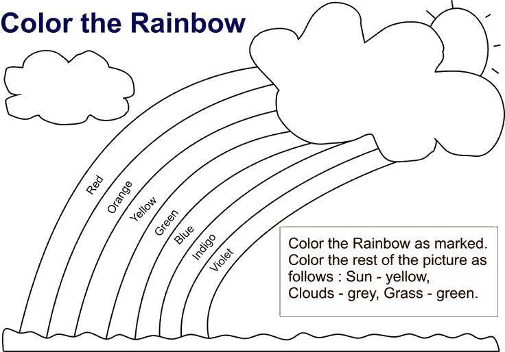 Раскраски облако, Раскраска Облако и радуга Радуга.