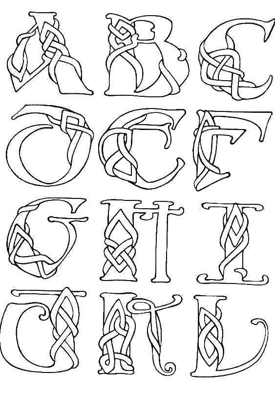 Раскраски букв, Раскраска Кошка буква к Английский алфавит.