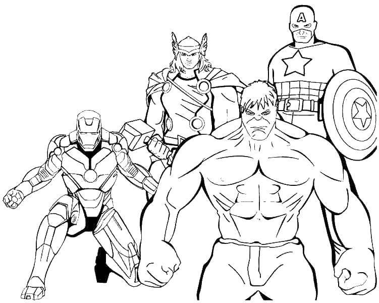 Раскраска Железный человек, тор, халк и капитан америка Скачать ,Комиксы,.  Распечатать