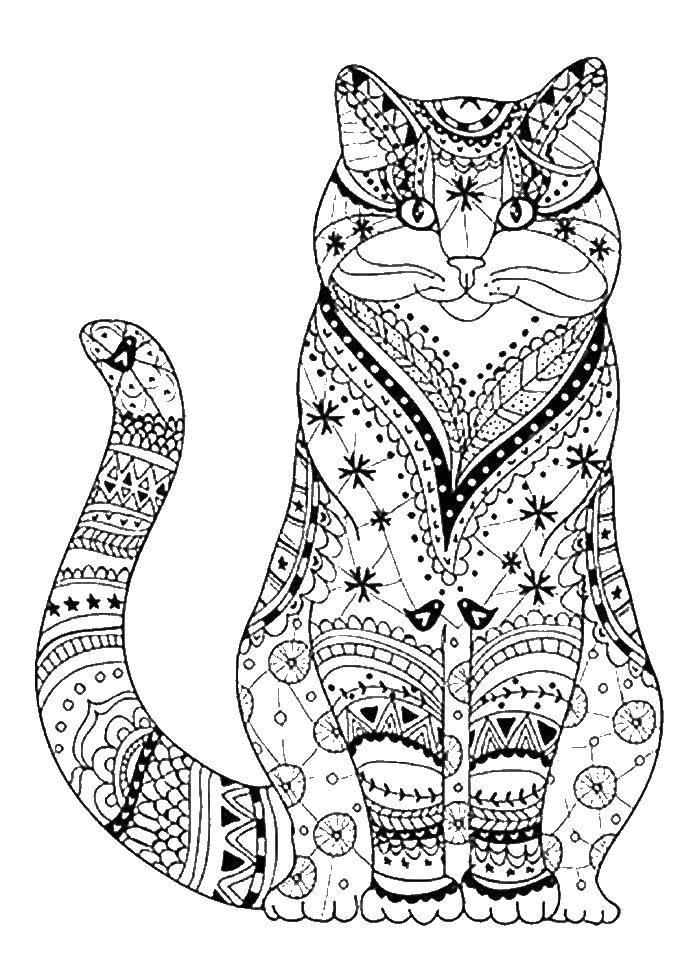 Раскраска Антистресс кошечка Скачать ,антистресс, кошка,.  Распечатать