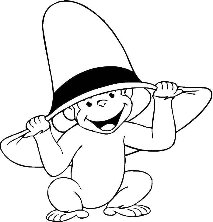 Раскраски Раскраска Обезьянка в шляпе Разные раскраски ...