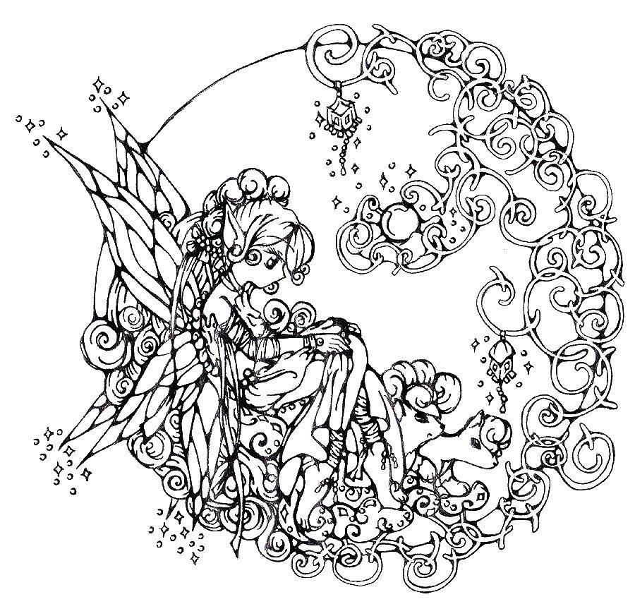 Coloring The fairy and the moon Download fairy, moon, wings.  Print
