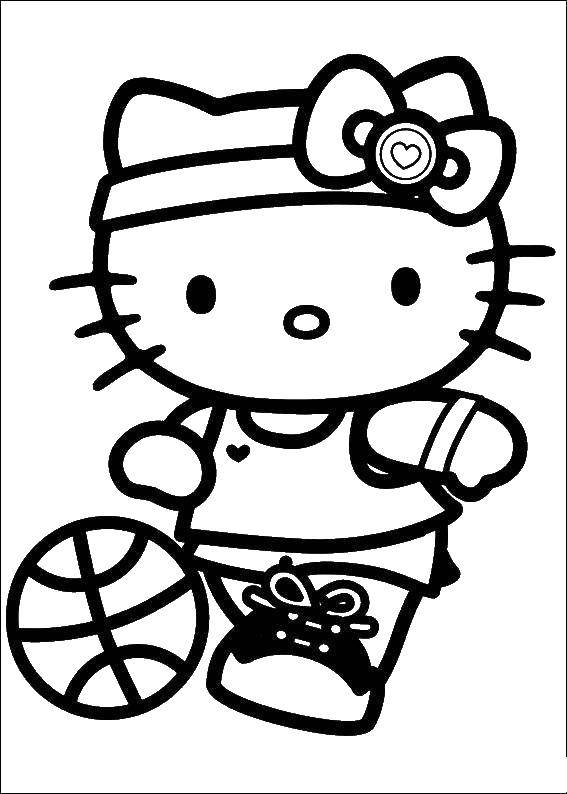 Coloring Kitty basketball player Download Kitty , basketball.  Print ,Kitty ,