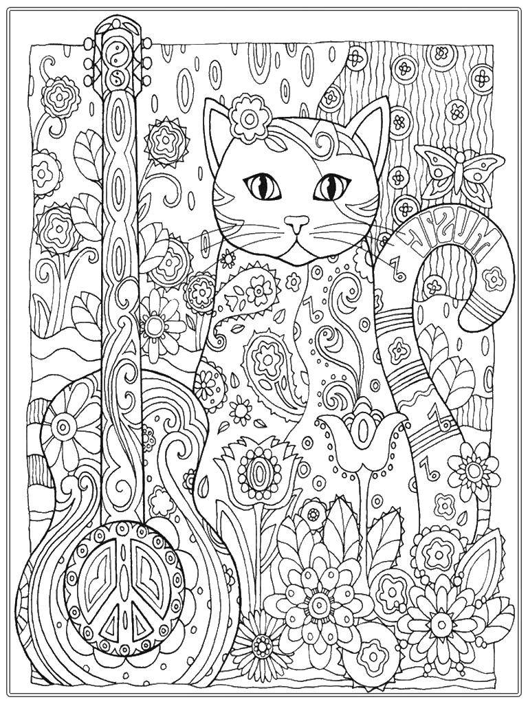 Coloring sheet For teenagers Download cat, cat, branch, animal.  Print ,The cat,