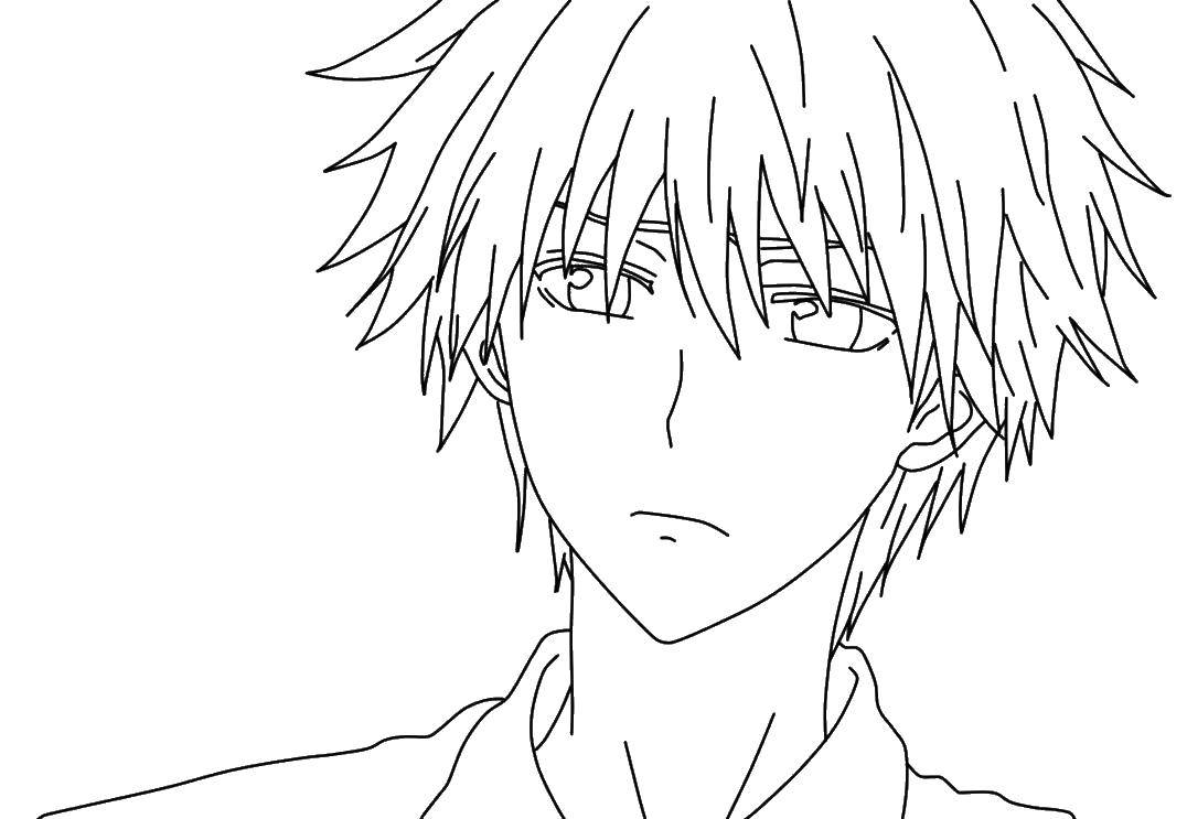 Раскраски аниме, Раскраска Красивый парень аниме.
