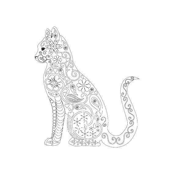 Раскраски силуэт, Раскраска Силуэт кошки с узорами Для ...