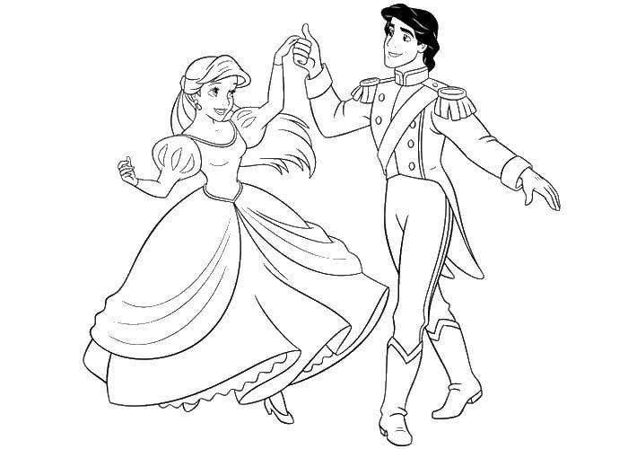 Coloring The Prince and Princess dance Download Prince, Princess, dance,.  Print