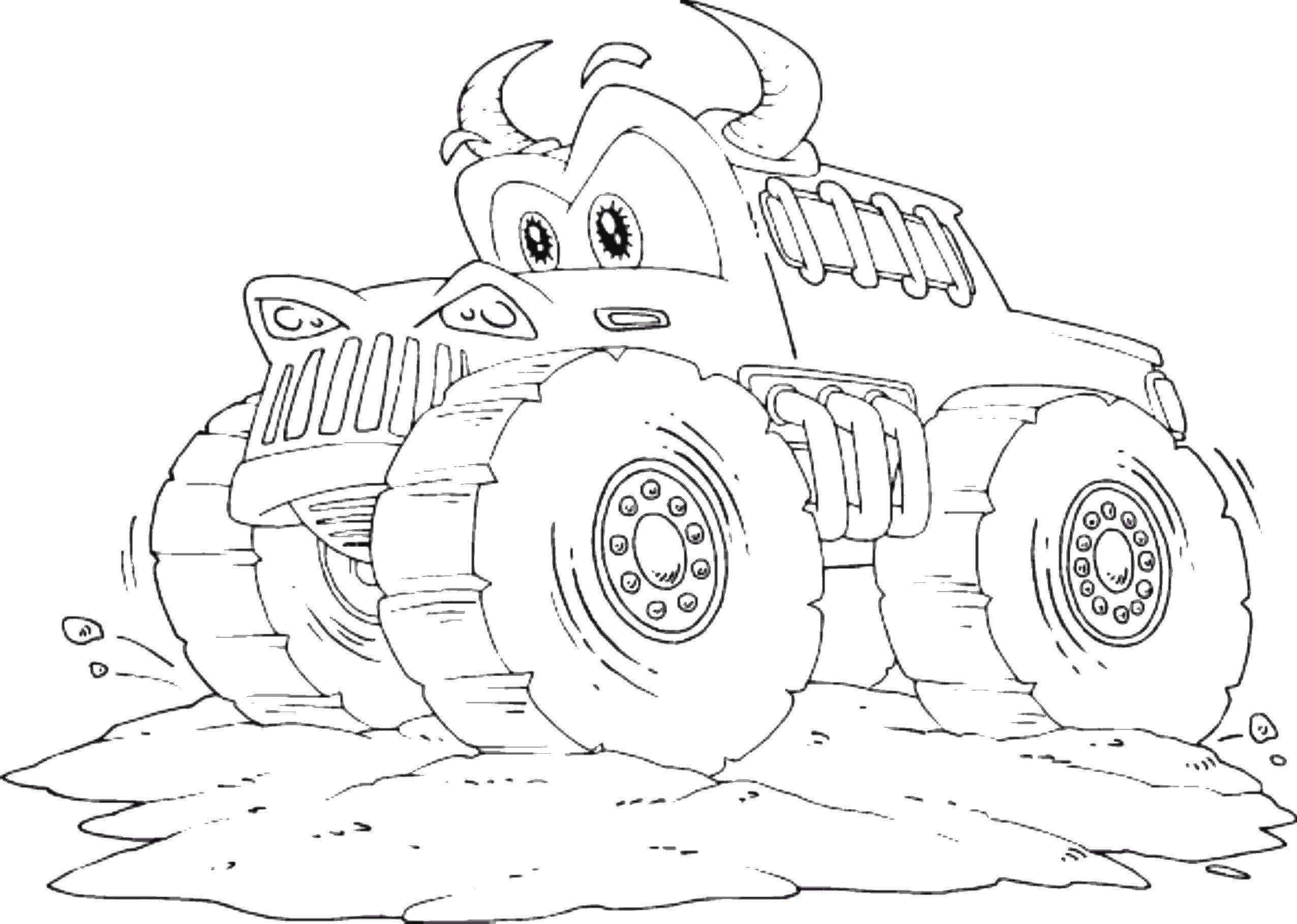 Coloring pages for kids to print - Car coloring page/Big car | 1818x2551