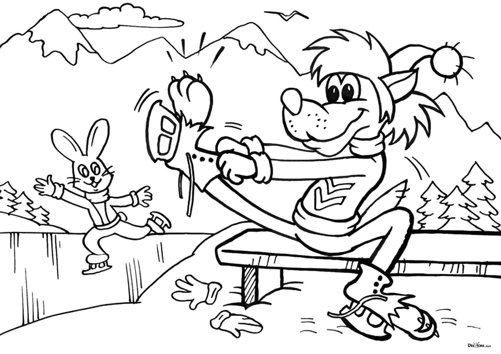 Coloring sheet Oh wait Download winter, snow, dog.  Print ,winter,