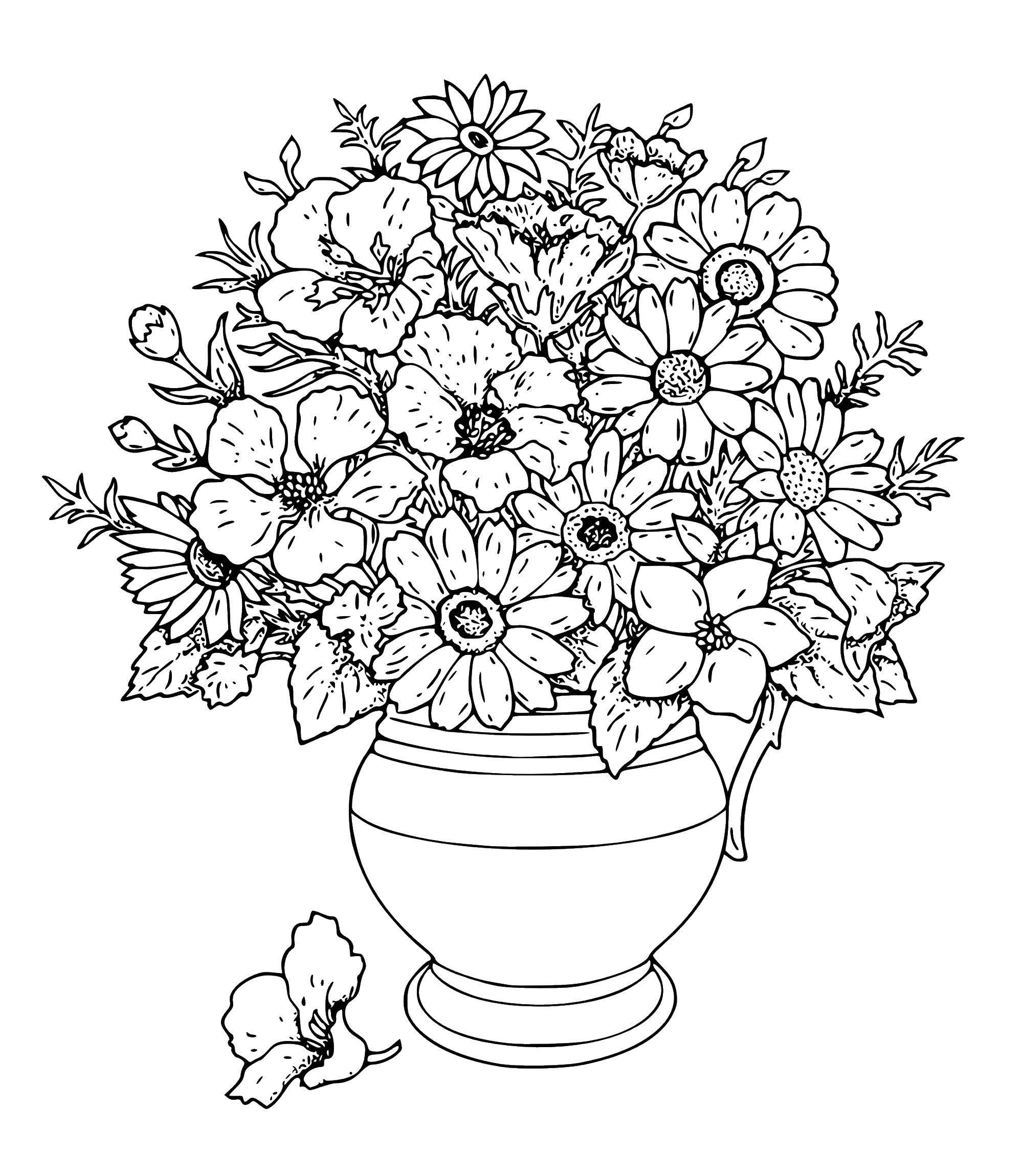 Раскраски для взрослых, Раскраска Букет цветов и ваза ...