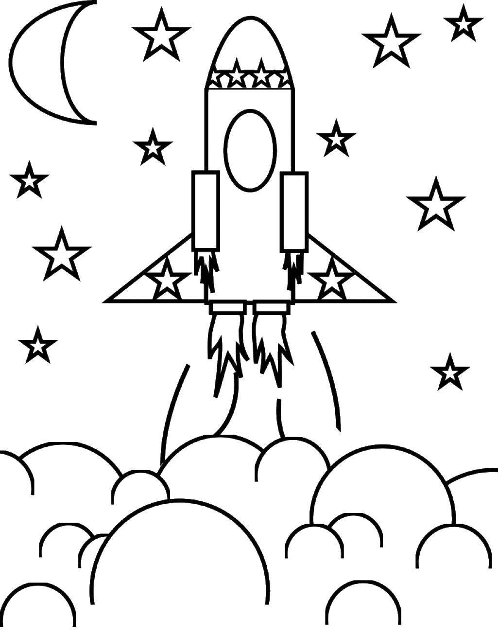 Раскраски космосе, Раскраска Ракета летит в космосе космос.