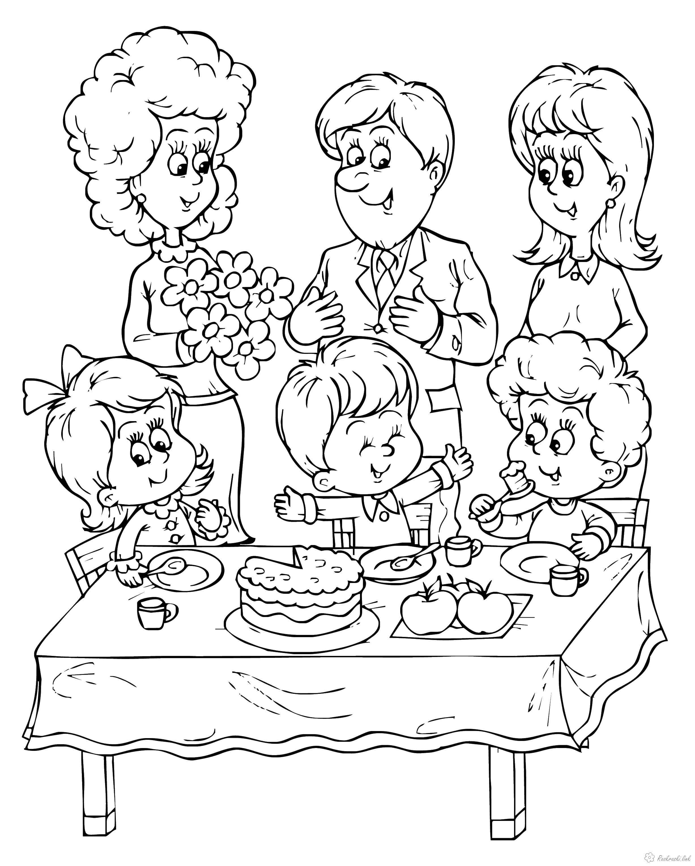 Раскраски семья, Раскраски детские.