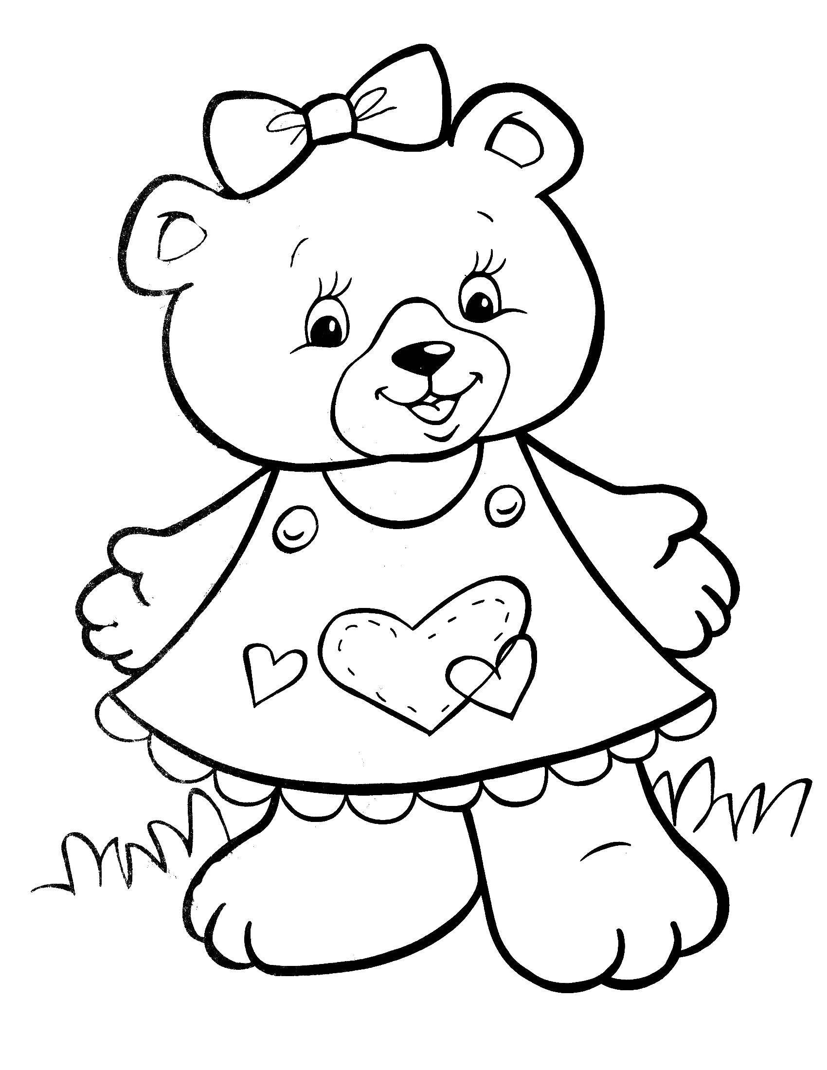 Раскраска Красотка мишка Скачать ,Животные, медведь,.  Распечатать