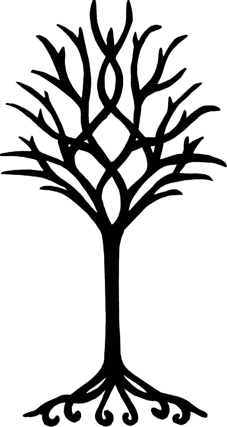 Раскраски дерева, Раскраска Дерево с ветками и корнями ...