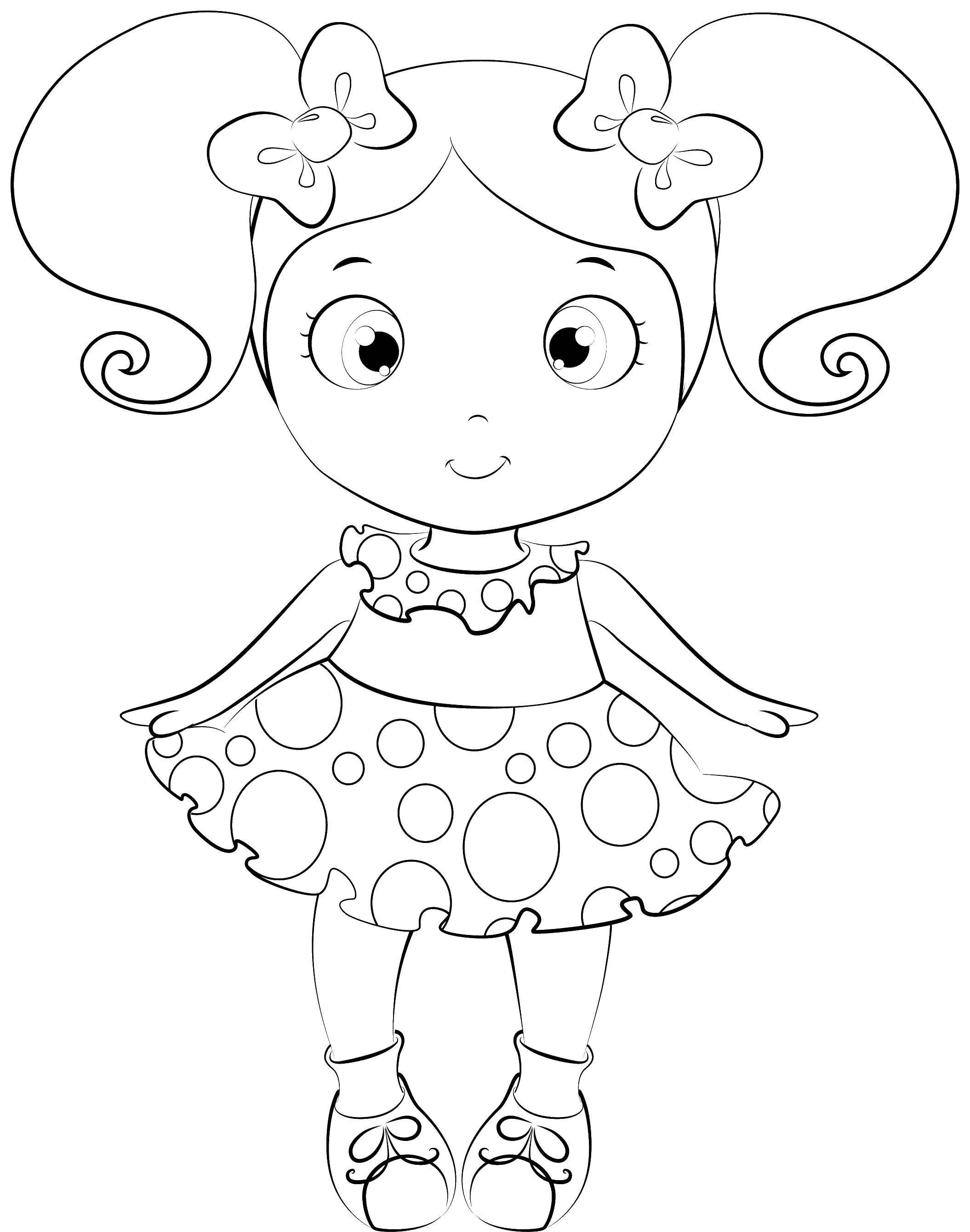 Раскраска Куклы Скачать ,кукла, хвостики, платье,.  Распечатать