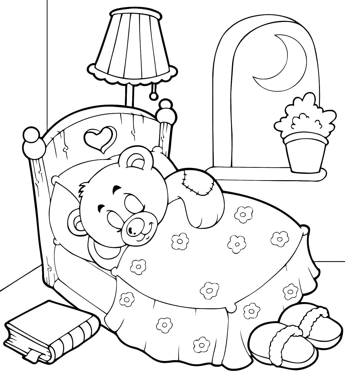 Картинки спящего мишки для детей на печать маленькие