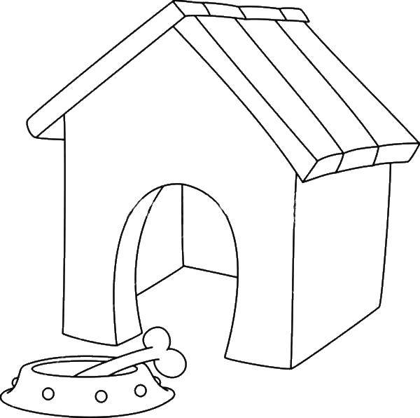 Coloring sheet Dog and kennel Download star.  Print ,moon,