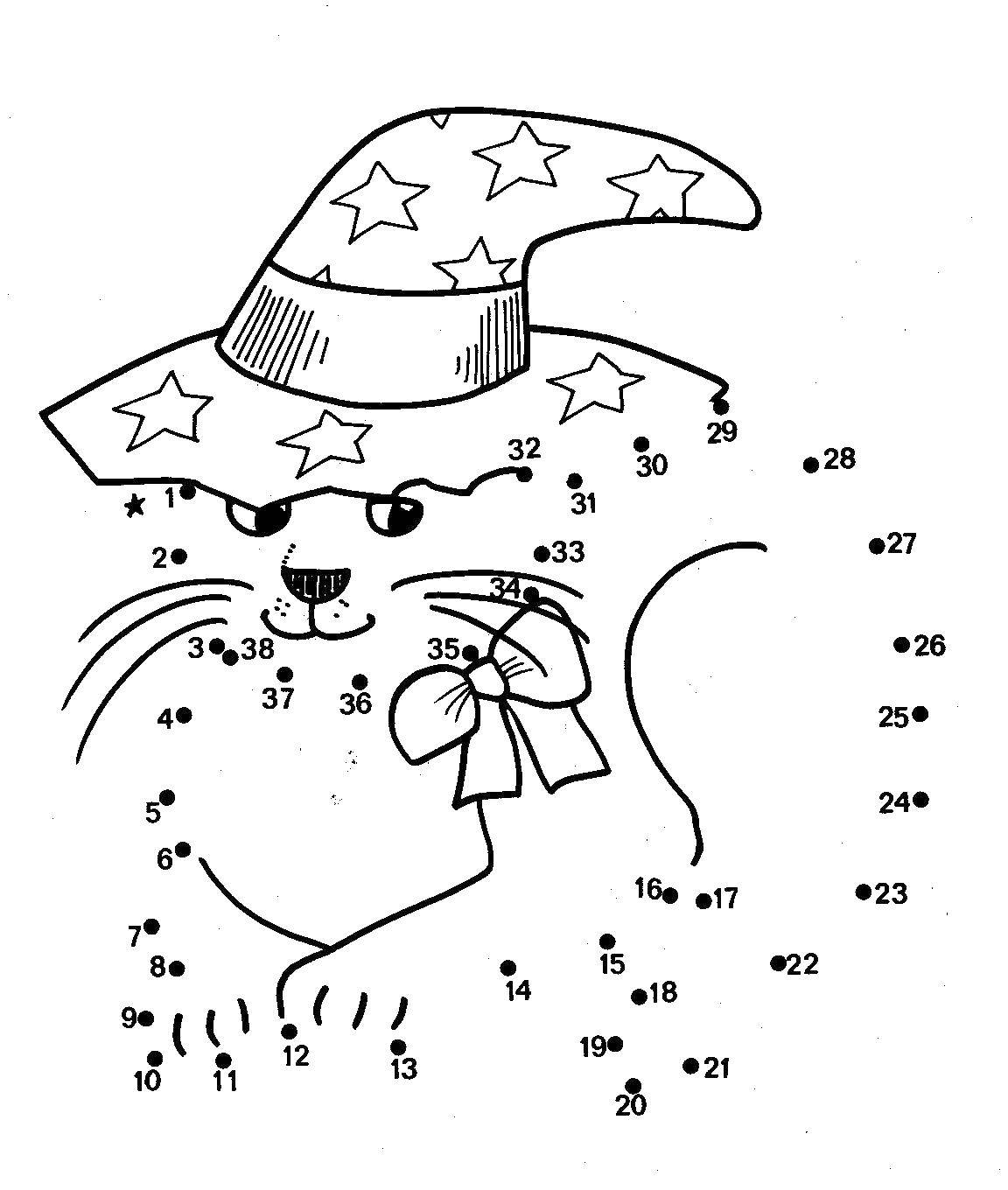 Coloring Paint by numbers cat wizard Download The sample numbers,.  Print
