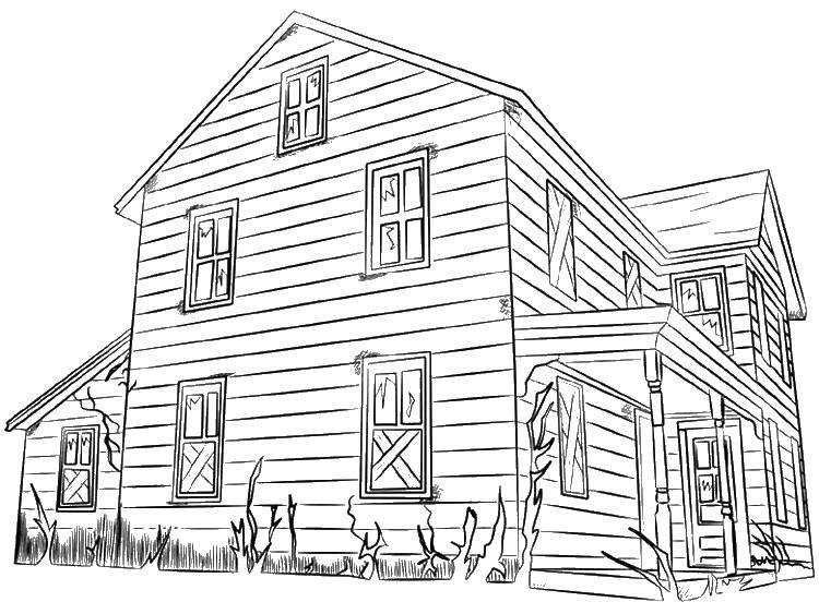 картинка двухэтажный дом раскраска