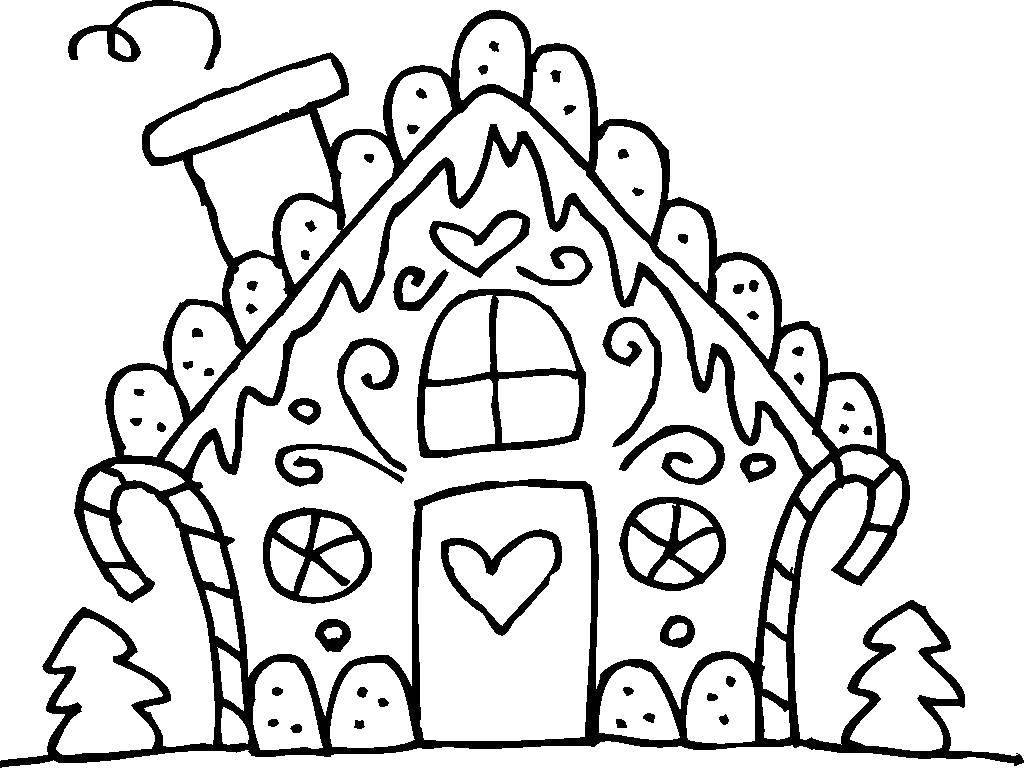 Раскраски крышей, Раскраска Домик с кирпичной крышей ...