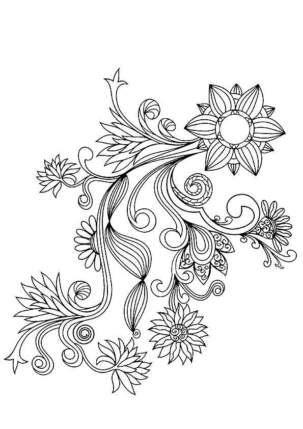 Coloring Beautiful pattern with flowers. Category Patterns with flowers. Tags:  flowers, patterns.