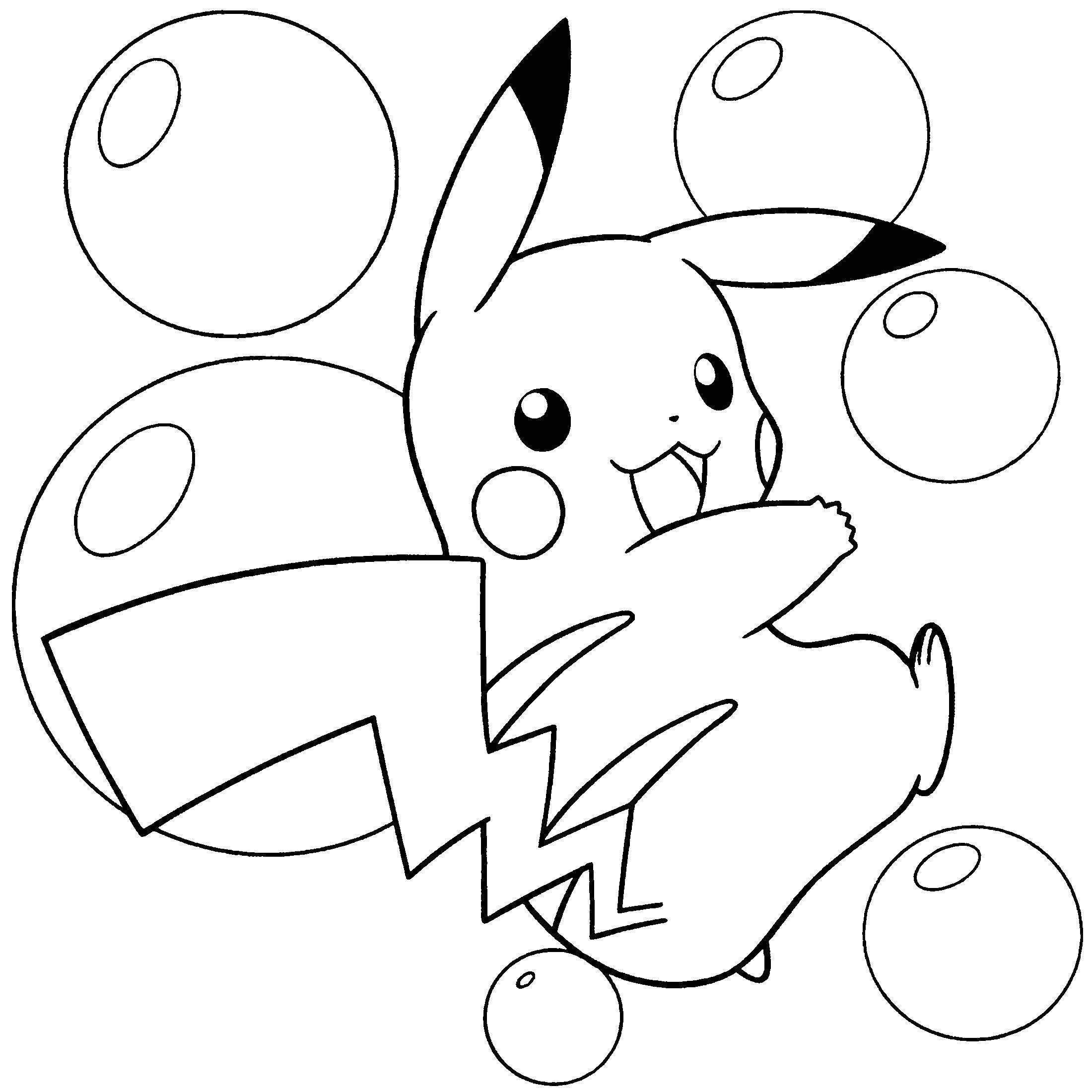 картинки для раскраски покемон пикачу размахивал