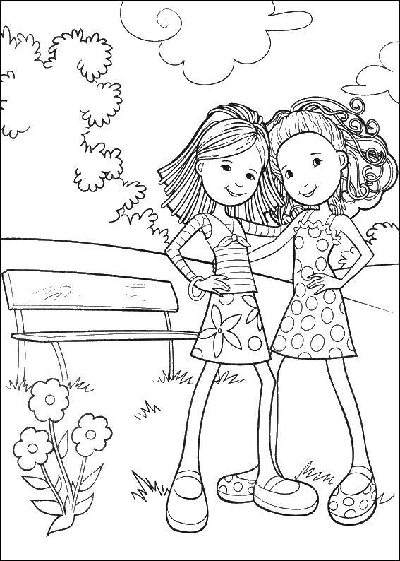 Coloring Two girls and bench Download girls, bench, flowers,.  Print