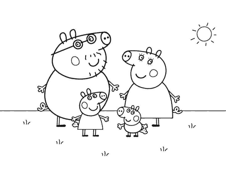 Раскраска Свинка Пеппа Скачать свинка, Пеппа, мама, папа.  Распечатать