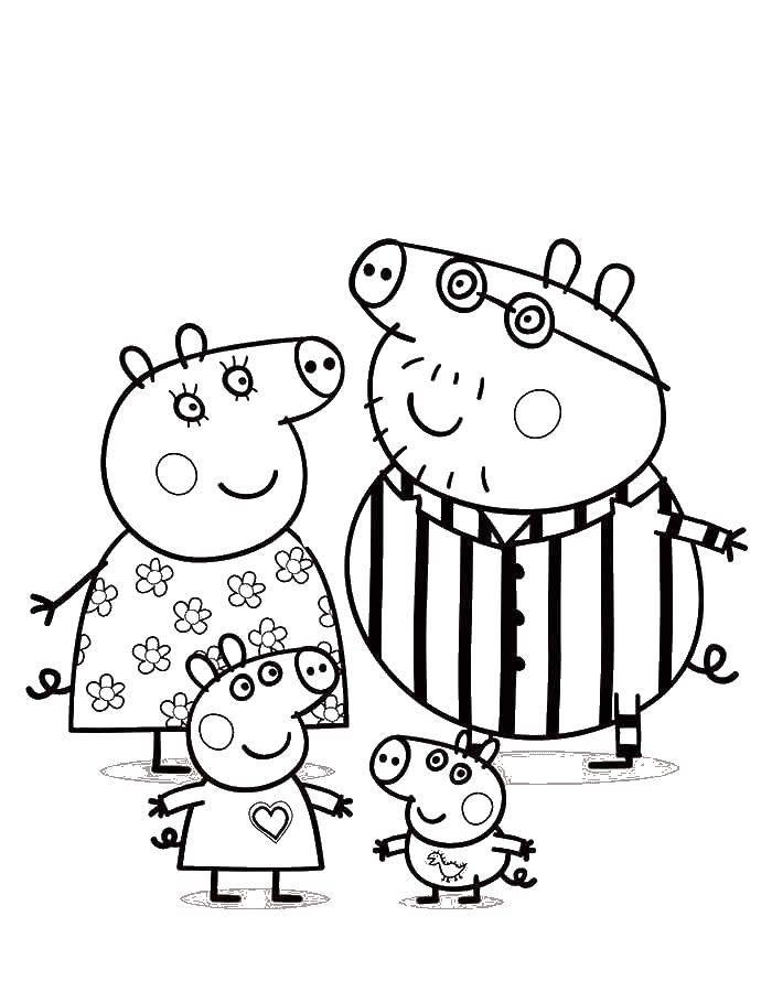 Название: Раскраска Мама и папа свин с детьми. Категория: Свинка Пеппа. Теги: свинка, Пеппа, мама, папа.