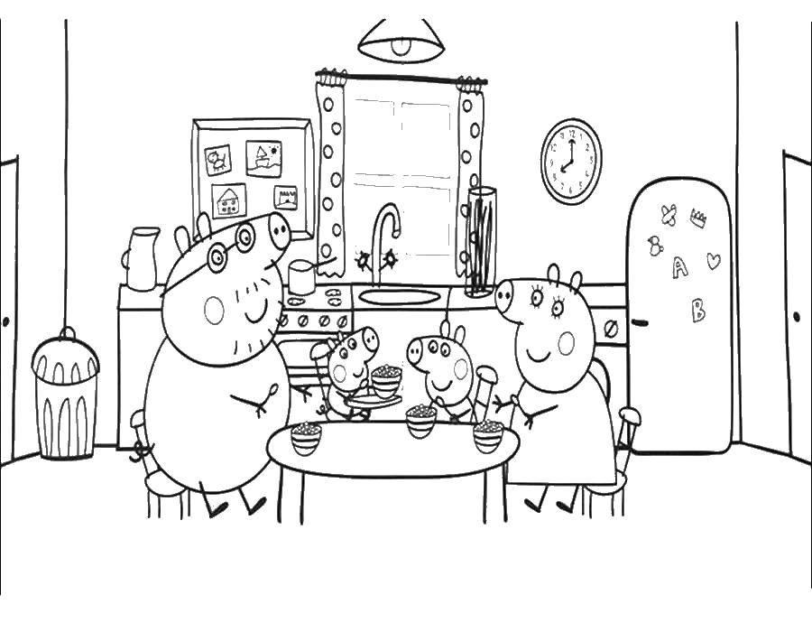 Название: Раскраска Семья свинки пеппы за столом. Категория: Свинка Пеппа. Теги: свинка Пеппа, стол, мама, папа, брат.