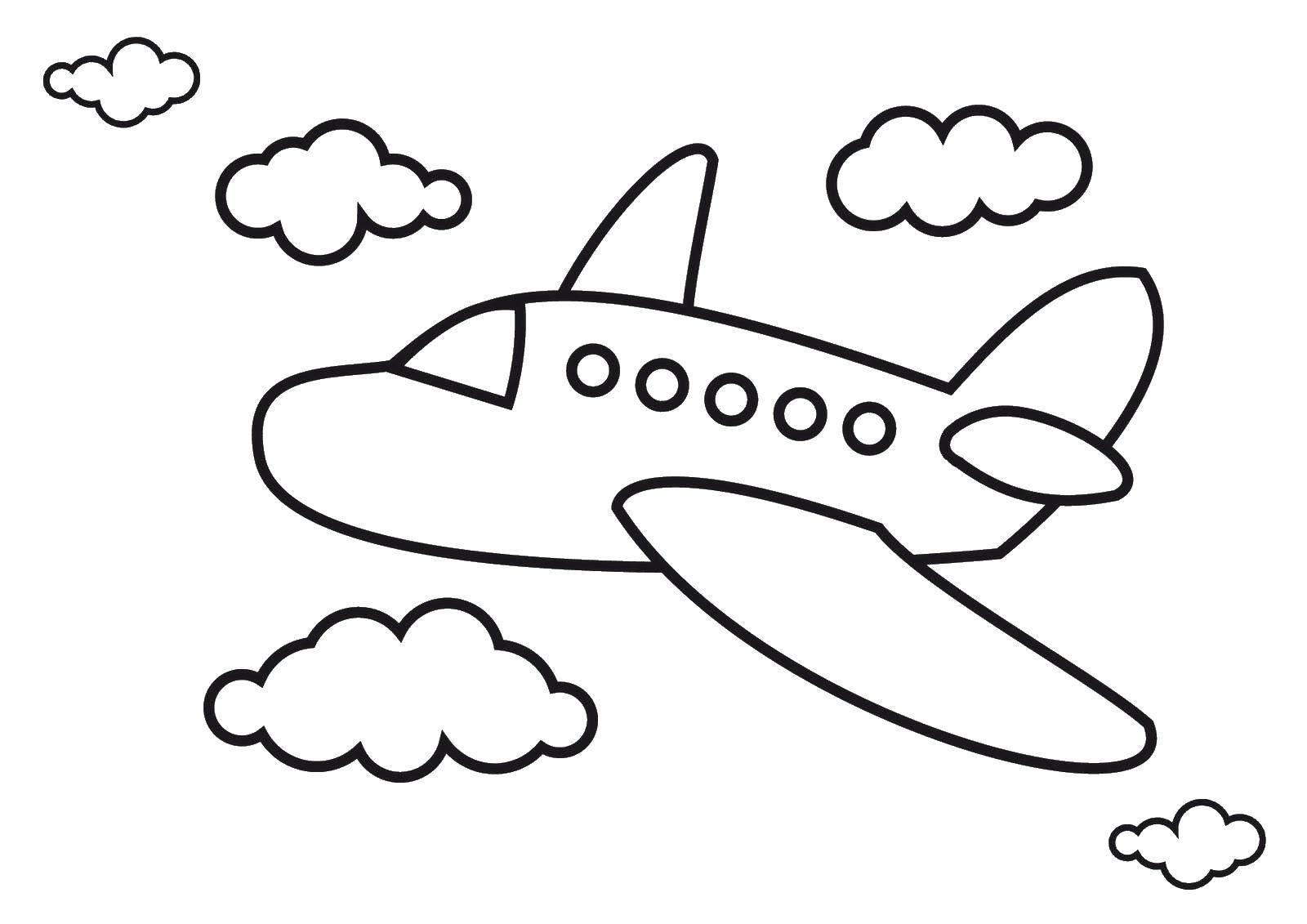 Раскраска Самолёт и облачка Скачать ,Самолёт,.  Распечатать