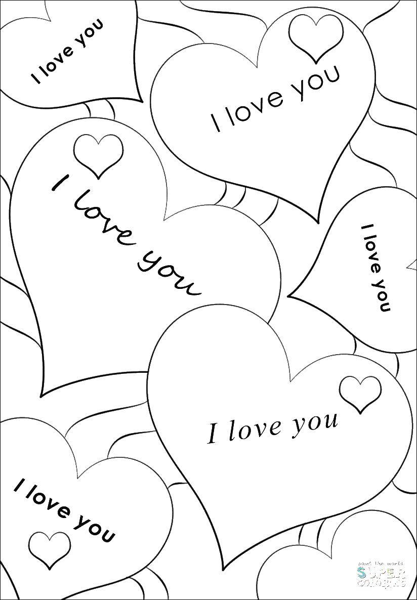 Coloring Note recognition Download Heart, love.  Print ,I love you,
