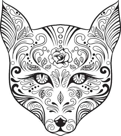 Раскраска Красивый узорный волк Скачать ,Узоры, животные,.  Распечатать