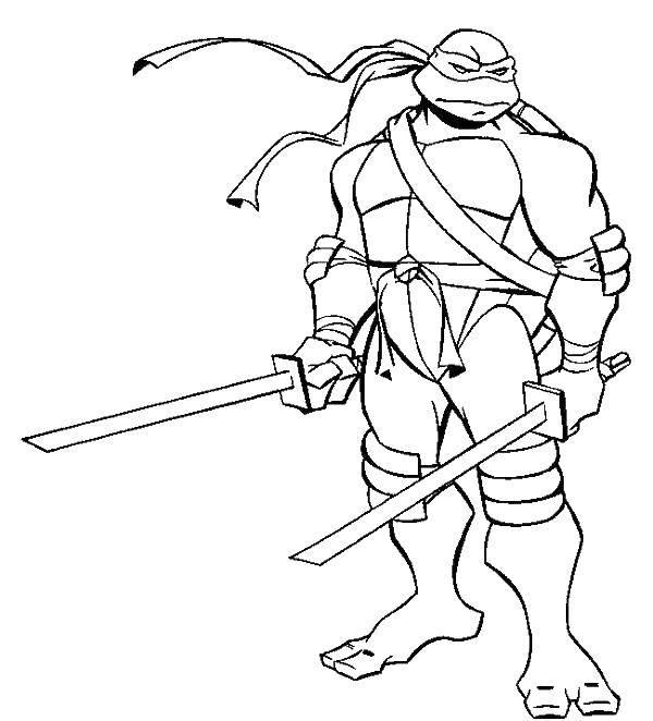 Раскраска Лео с мечами Скачать ,черепашка ниндзя, черепашки, оружие, мультики,.  Распечатать