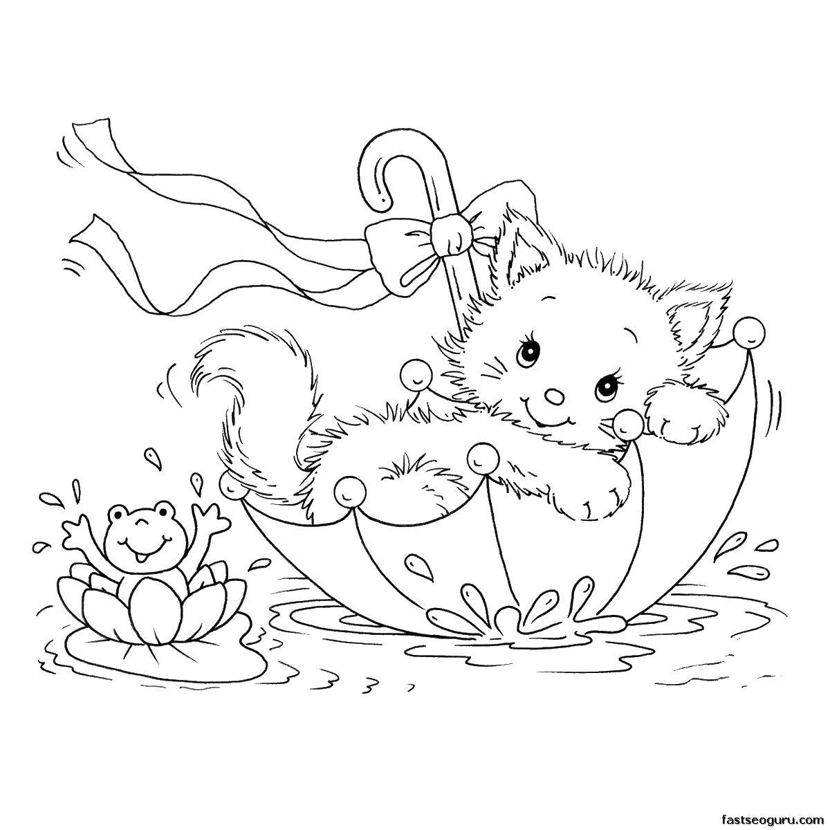 Раскраски Раскраска Котёнок плавает в зонте Коты и котята ...
