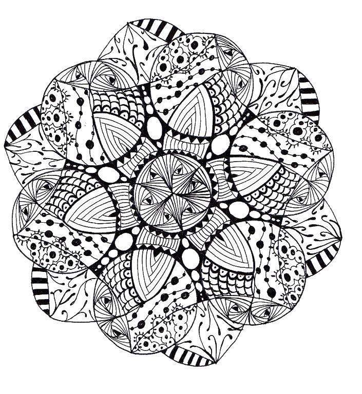 Раскраски антистрес, Раскраска Цветы узором раскраски ...