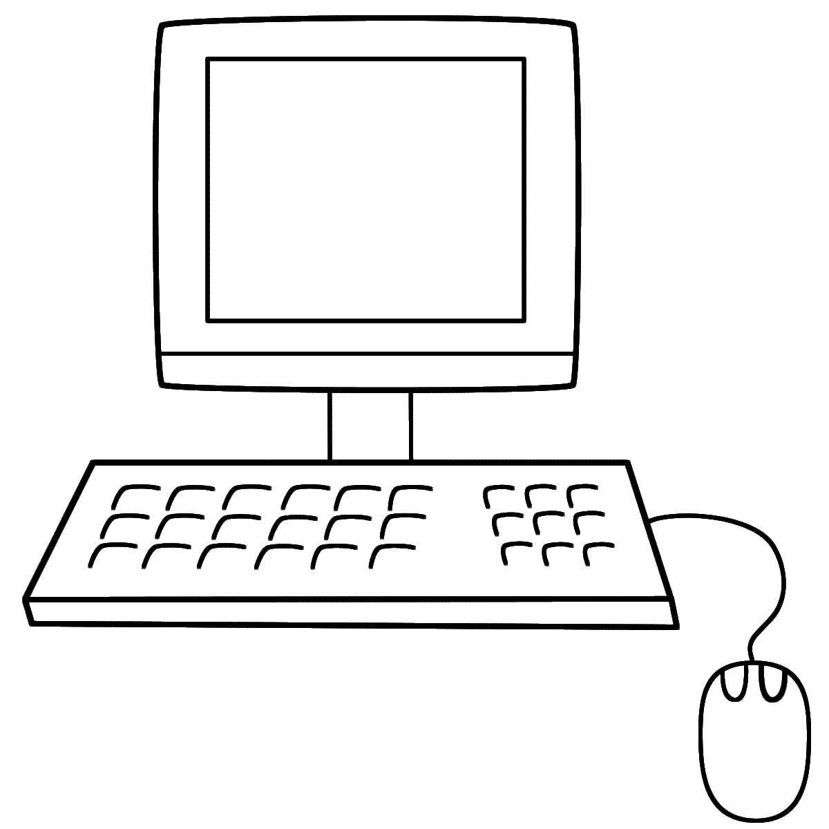 Coloring Monitor and keyboard Download monitor, keyboard, mouse.  Print ,coloring,