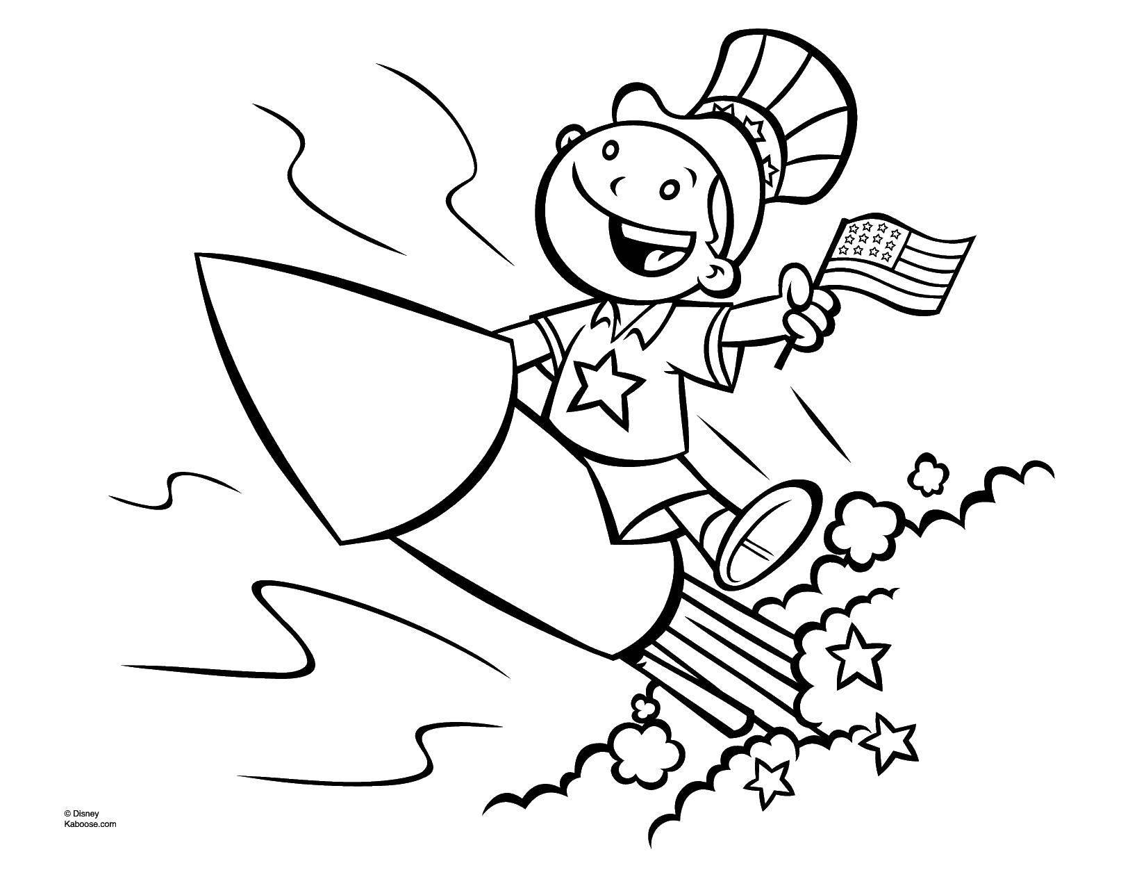 Раскраски ракете, Раскраска Мальчик на ракете для мальчиков.